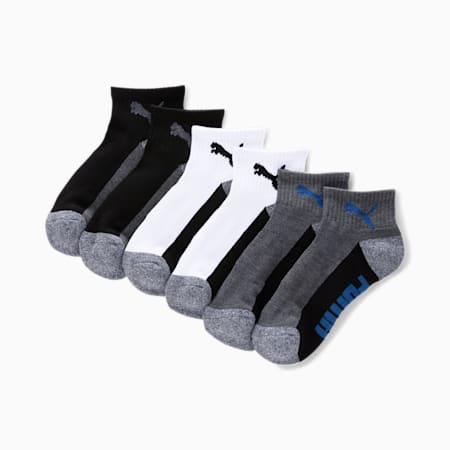 Boys' Quarter Crew Socks [6 Pack], GREY / BLUE, small